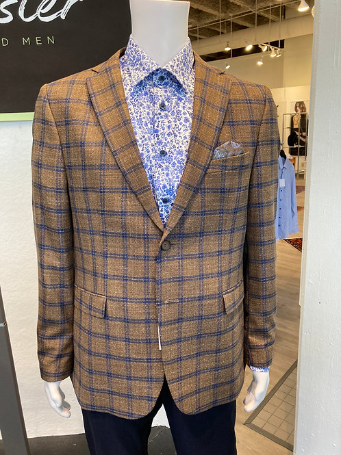 Luchiano Visconti Sport Coat Brown/Blue Plaid ABE1960-M