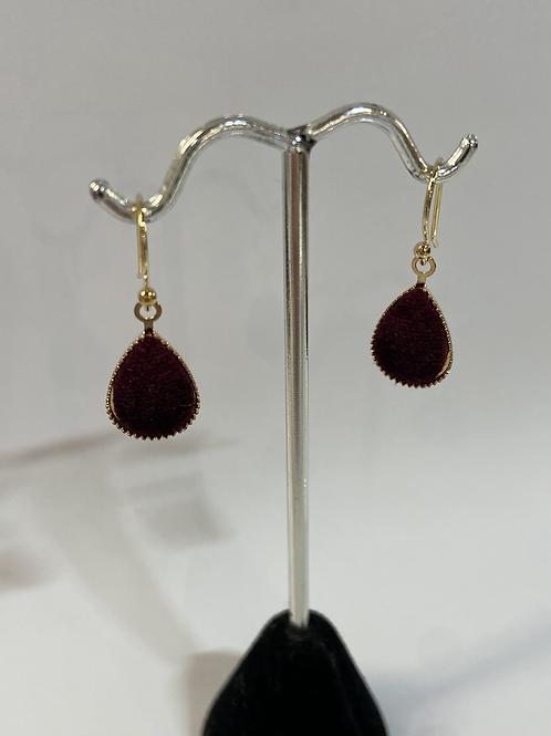 Gold + Maroon Velvet Teardrop Earrings
