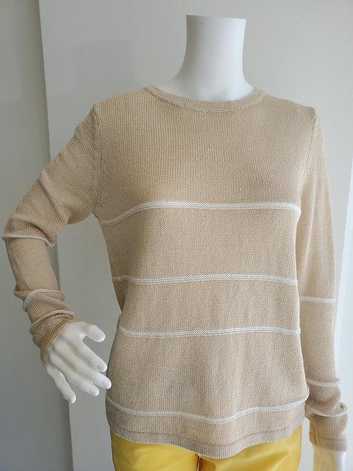 Kinross Simple Stripe Pullover Sandstone/Chalk LSSL1-063