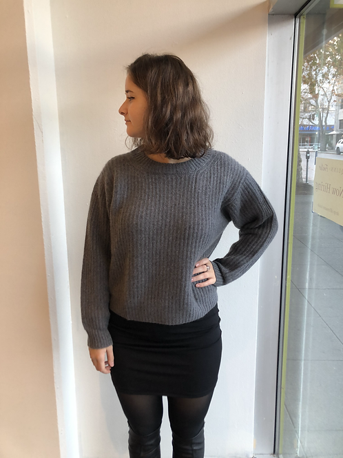 Revive Oversized Grey Crop Sweater RC91550