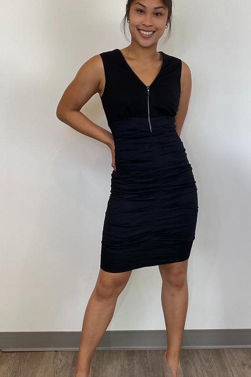 Nicole Miller Black Front Zip Dress