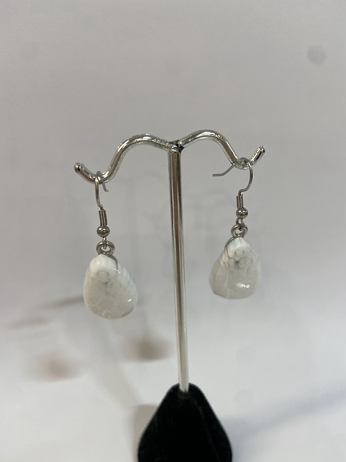 White Murano Glass Earrings