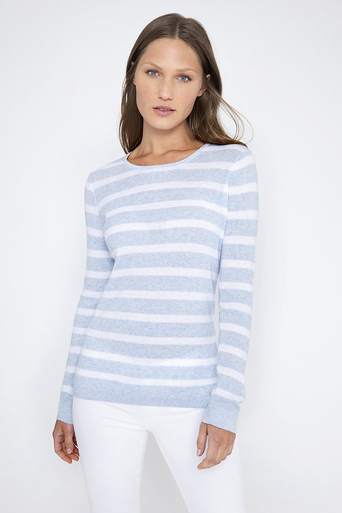 Kinross Thermal Stripe Crew Wave/White LSSD1-095