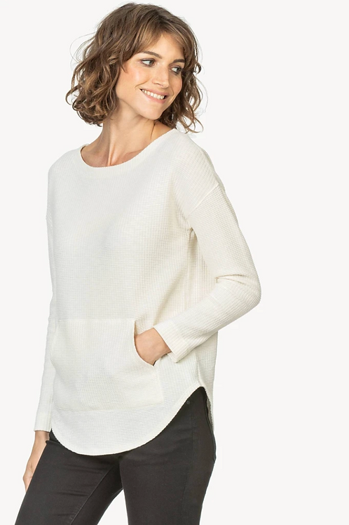 Lilla P Long Sleeve Textured Waffle Boatneck in Ecru PA1485
