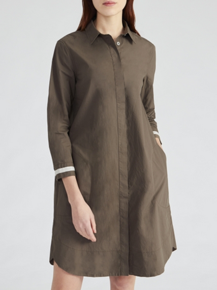 0039 Italy Gracia Button-Up Shirt Dress in Olive