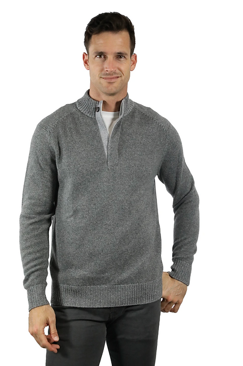 Raffi Elijah Zip Mock Neck in Charcoal HWD19488