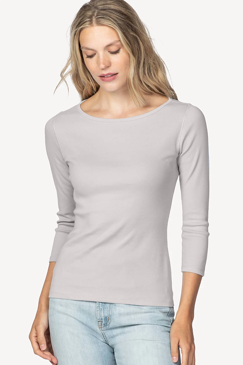 Lilla P 3/4 Sleeve Boatneck Tee in Opal - PA1136