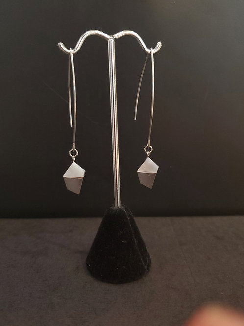 Heidi Hull Designs Silver Wire Dangle Earrings with Marble Accent