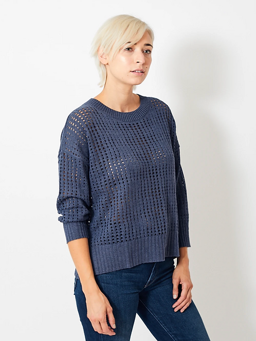 White + Warren Mesh Crew Neck in Indigo 18959