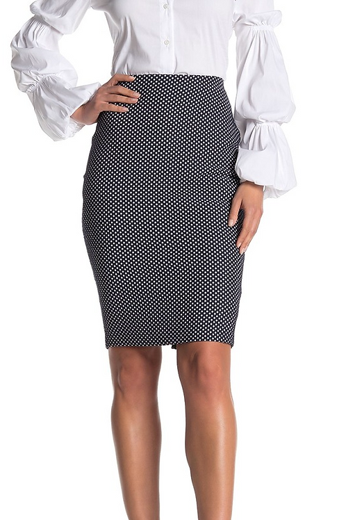 Bailey 44 Woven Skirt in Navy White Dots 412-S192