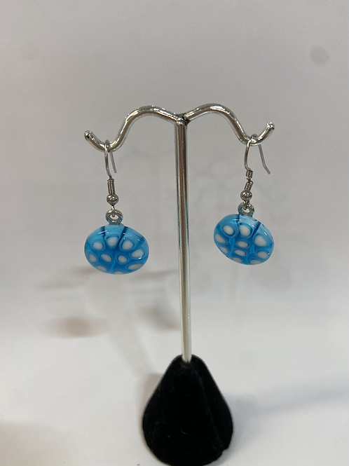 Silver + Blue Murano Glass Earrings
