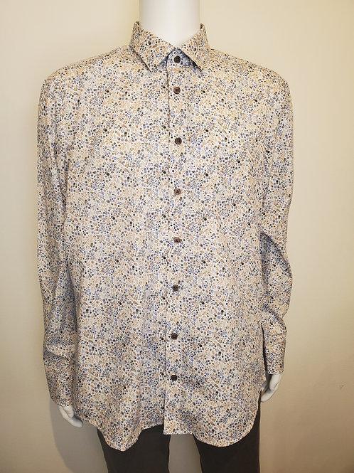Haupt Brown/Blue Floral Men's Button Up- 8025