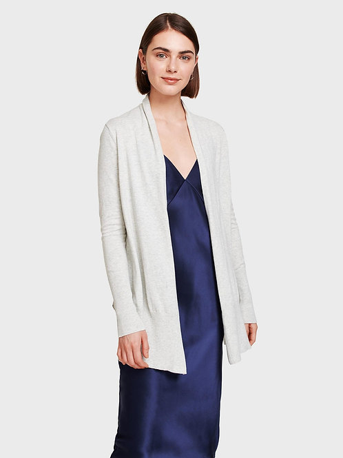 White + Warren Long Open Cardigan in Grey