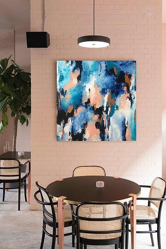 Abstraktes-Gemälde-Blau-Malerei-Manufaktur