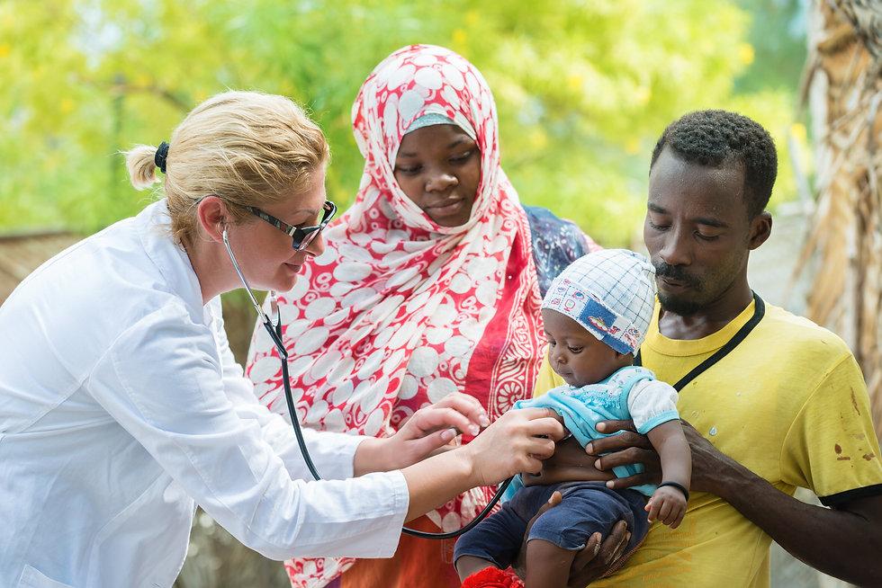 Female Caucasian doctor listening breath