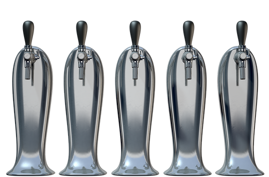 A row of regular chrome draught beer tap