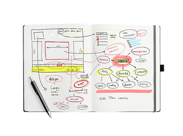 Open notepad with hand drawn website pro