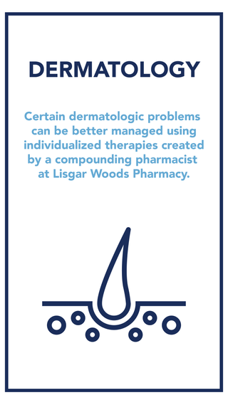 Compounding pharmacists continue to provide alternatives and advantages in dermatologic care by widening the options available to physicians and patients. We can compound medications into comfortable to use creams or lotions- increasing your treatment compliance by making your prescription easier to administer.    Alternatively, we can create customized oral dosage forms and a variety of other preparations for other routes of administration. Commonly, your compounding pharmacist will prepare formulations that physicians develop to meet their patients' specific needs, or more traditional formulas acquired during medical training.