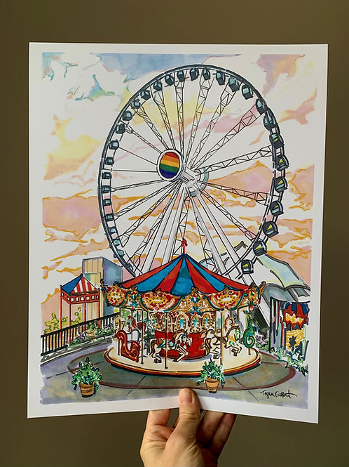 Navy Pier Chicago, Ferris Wheel Art Print