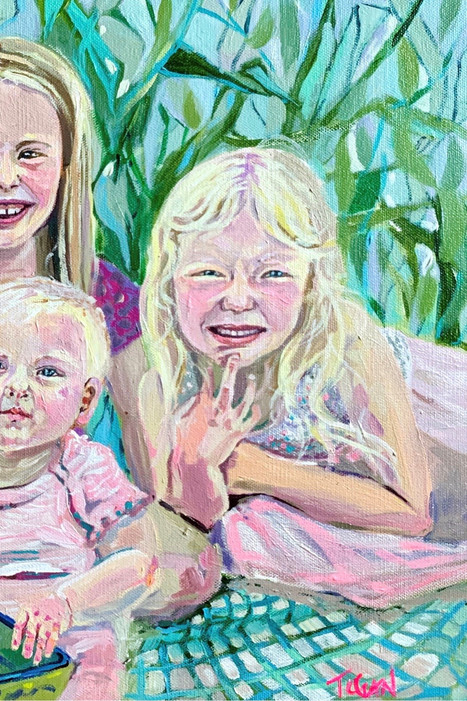 custom acrylic little girl family portra