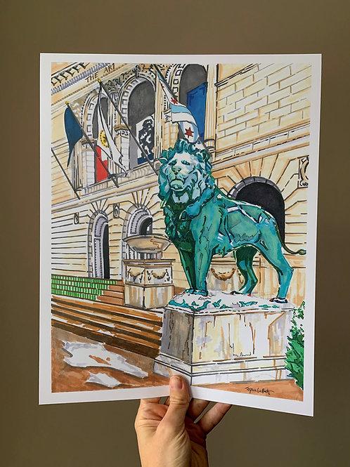 Art Institute Lions, Chicago Art Print