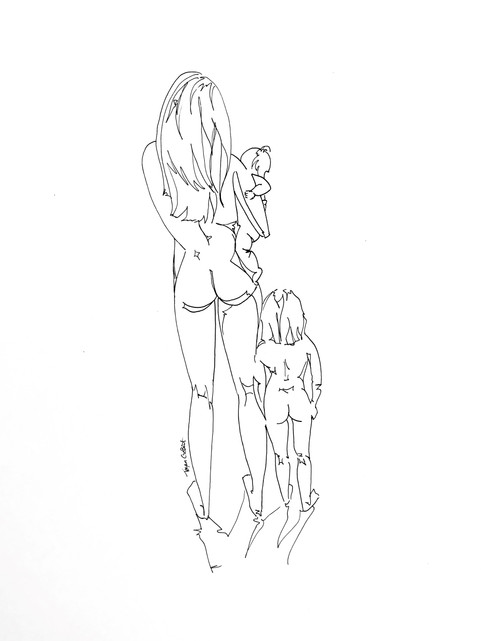 Mother Daughter Custom Line Drawing Mode