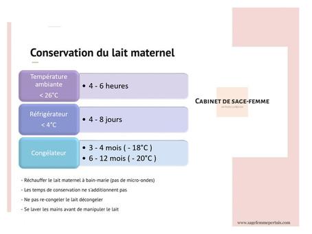 La conservation du lait maternel