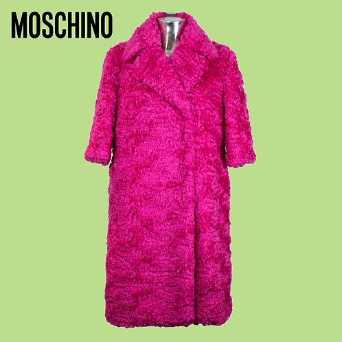 Moschino Couture Faux-Fur Mid-Sleeve Coat / Size 12