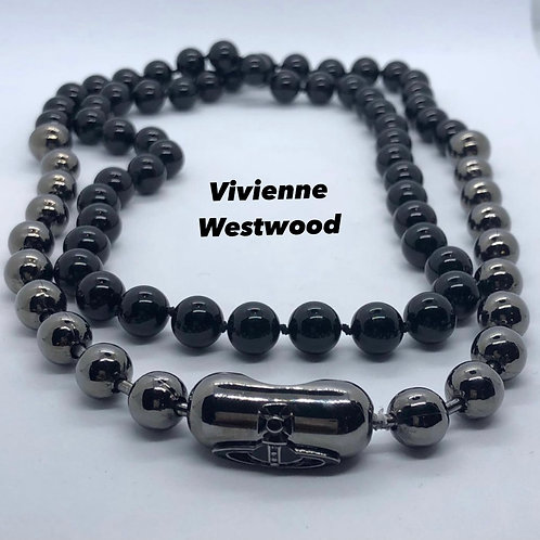Vivienne Westwood Onyx and Gunmetal Necklace