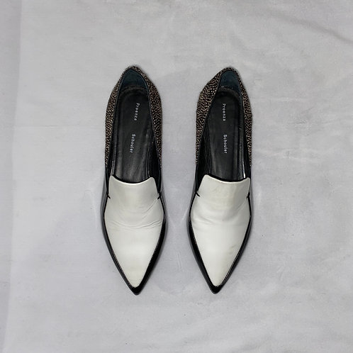 Proenza Schouler White and Black Pointed Flats Size 38