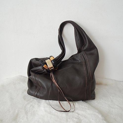 Jimmy Choo Saba Hobo Brown Leather Bag