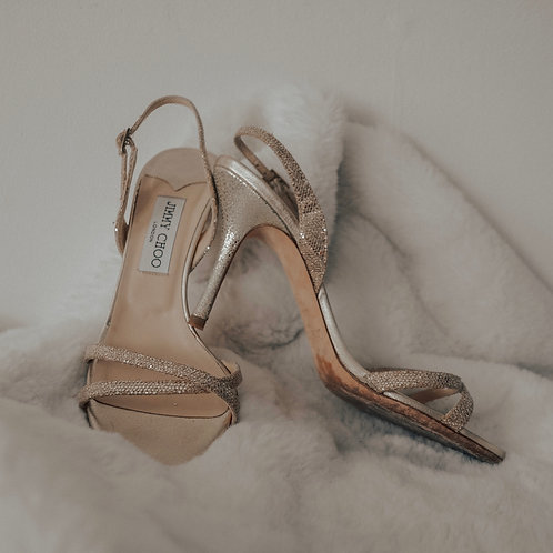Jimmy Choo Gold Strapped Sandals - Size IT 38.5