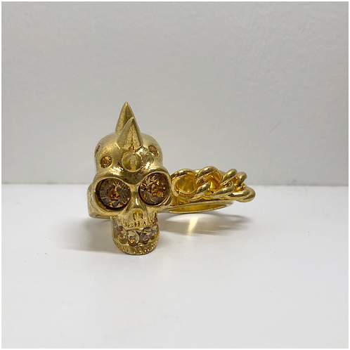 Alexander McQueen Mohican Skull & Chain Two Finger Ring