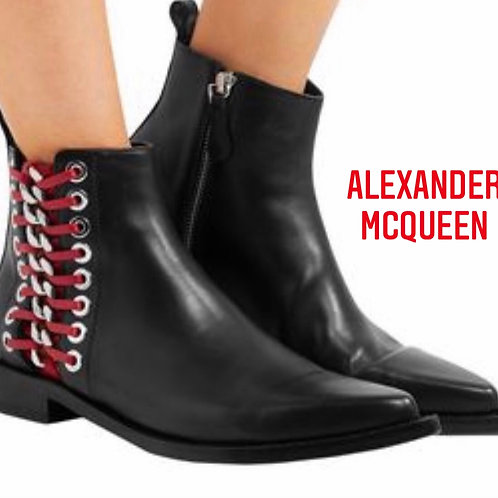 Alexander McQueen Black Leather Booties, Side Red Plaiting Size 37-38
