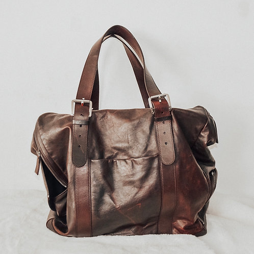 Dunhill Brown Leather weekend Hold-all Bag Unisex