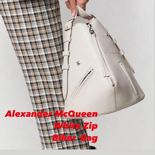 Alexander McQueen White Zip Biker Bucket Bag