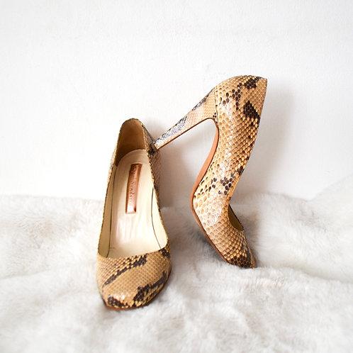 Rupert Sanderson Snake Skin Square Toe Heels - Size 38