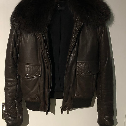 JOSEPH Leather Bomber Jacket With Detachable Fox Fur Collar Size S-M