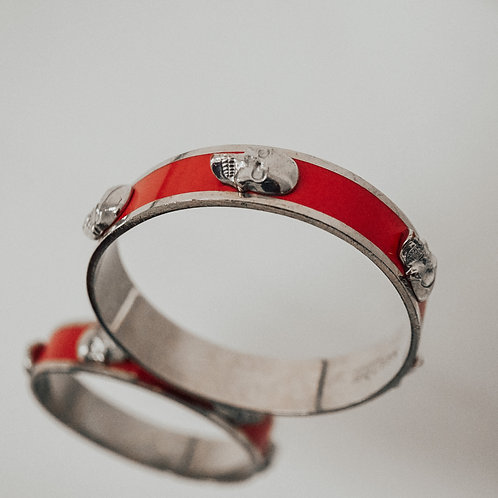 Alexander McQueen Red and Silver Tone Bangle