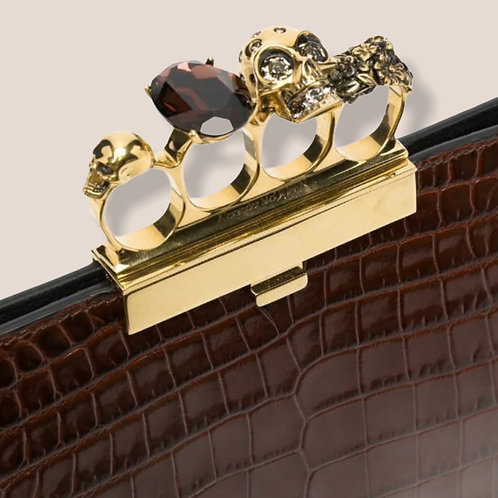 Alexander McQueen Mock Croc Leather Clutch With Four Ring Clasp