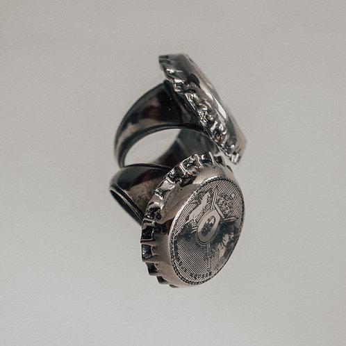 Alexander McQueen Silver Toned Solid Brass Bottle Cap Ring