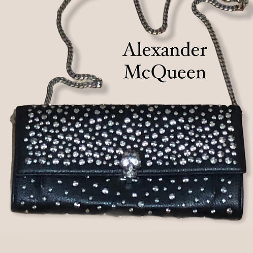 NewAlexander McQueen Black Leather With Silver Studs Wallet With Removable Chain