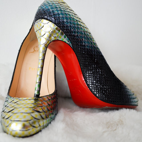 Christian Louboutin Snake Skin Round Toe Shoes - Size 40.5