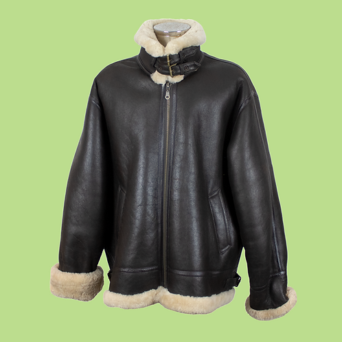New Aviator Shearling Leather Jacket / Size XL