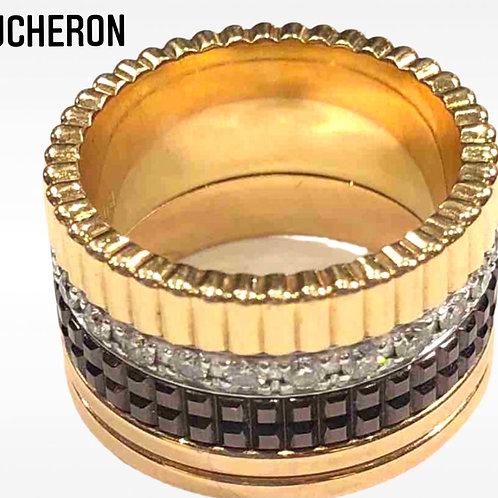 Boucheron Quatre Yellow Gold ..Pink Gold ..White Gold With Pave Diamonds