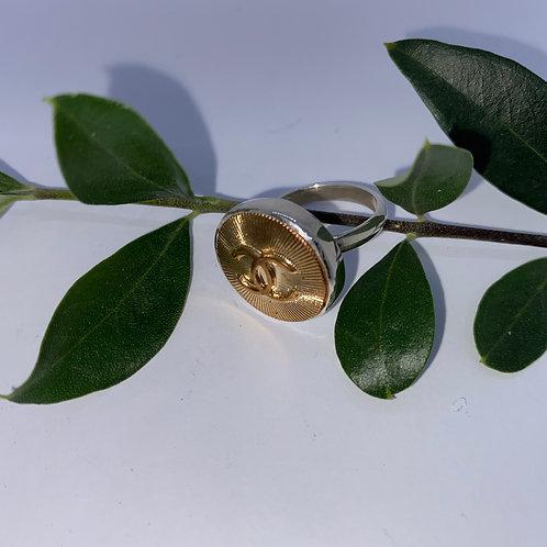 Vintage Chanel Button set In Sterling Silver Adjustable Ring