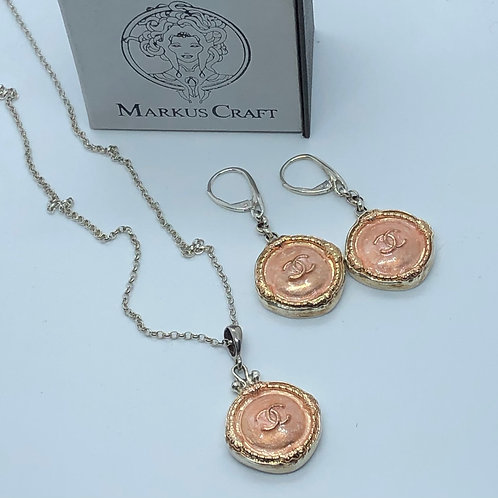 Vintage Chanel Buttons set in handcrafted Pendant and Earrings By Markus Craft