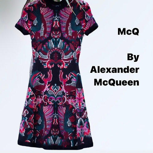 McQ By McQueen Stretch Knit Multicolour Print Dress/Uk 10