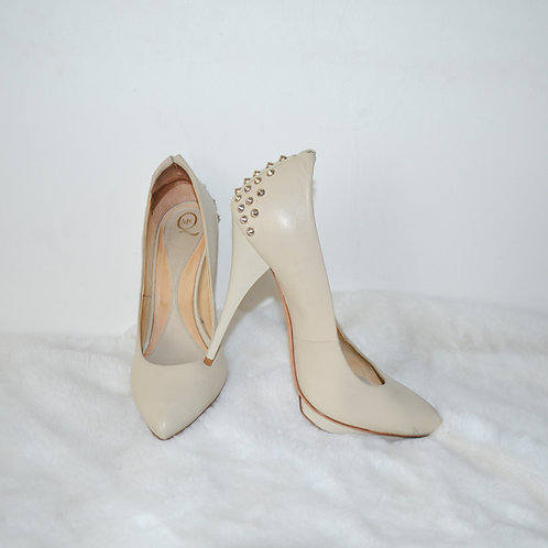 McQ Alexander McQueen Cream Studded Heel Shoes - Size 37