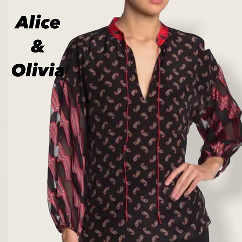 Alice & Olivia  Asha Paisley Silk Blouse Size  M